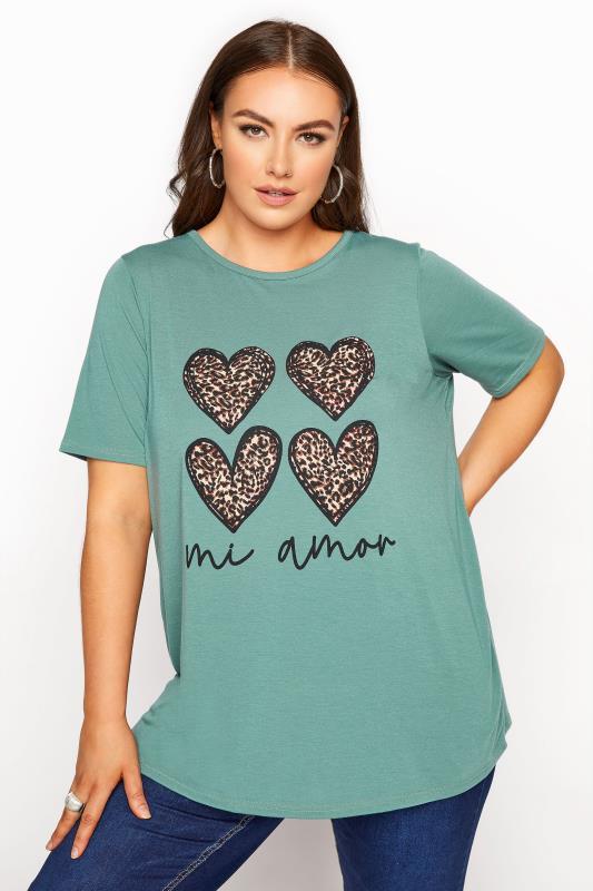 Plus Size  LIMITED COLLECTION Sage 'Mi Amor' Slogan Printed T-Shirt