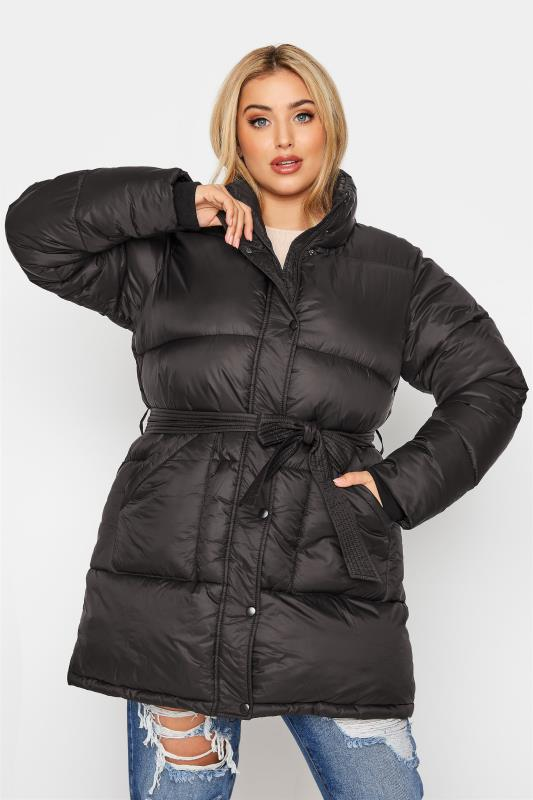 Plus Size  Black Belted Puffer Jacket