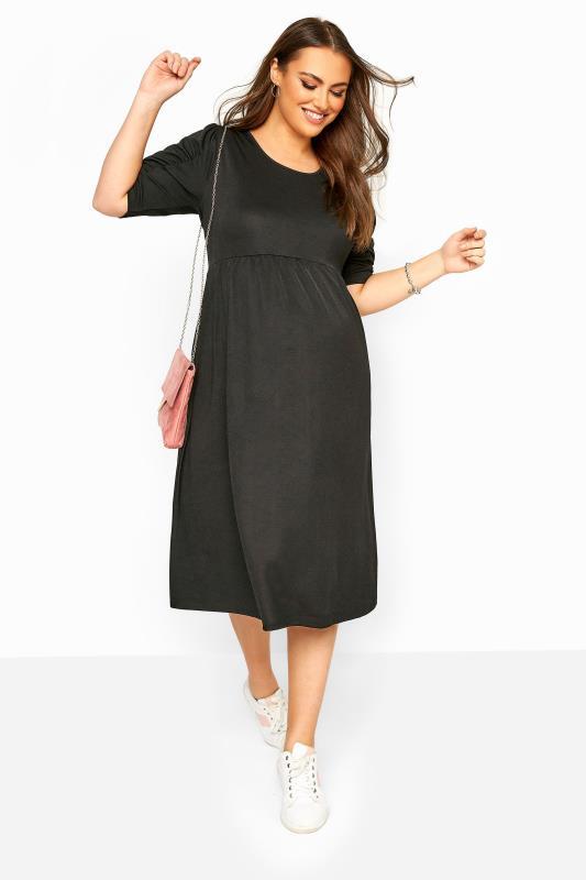 BUMP IT UP MATERNITY Black Jersey Smock Midi Dress_B.jpg