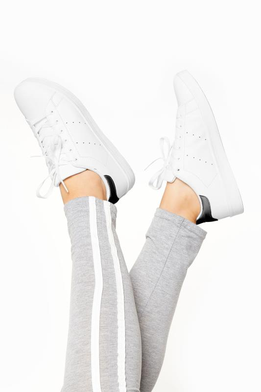 LIMITED COLLECTION White & Black Vegan Faux Leather Trainers In Wide Fit