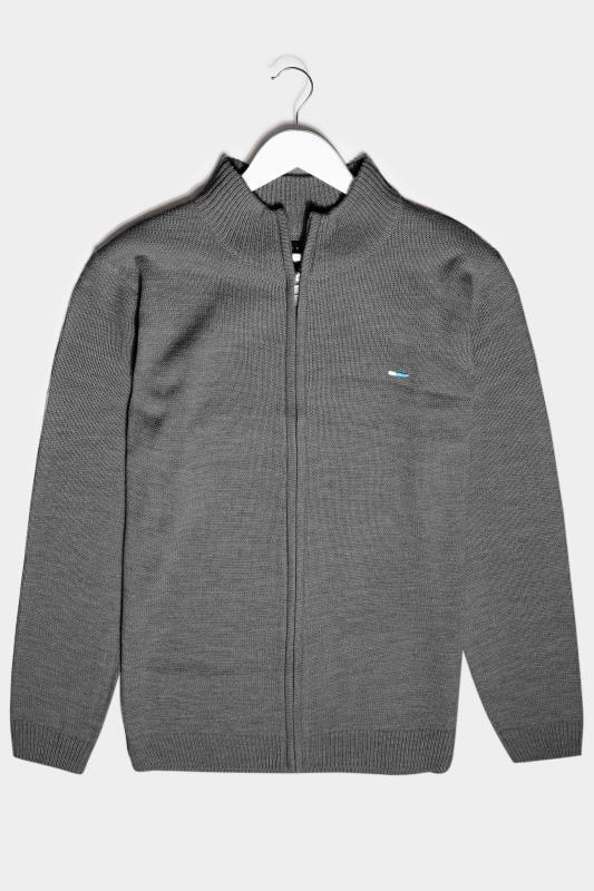 Men's  BadRhino Charcoal Grey Essential Full Zip Knitted Jumper