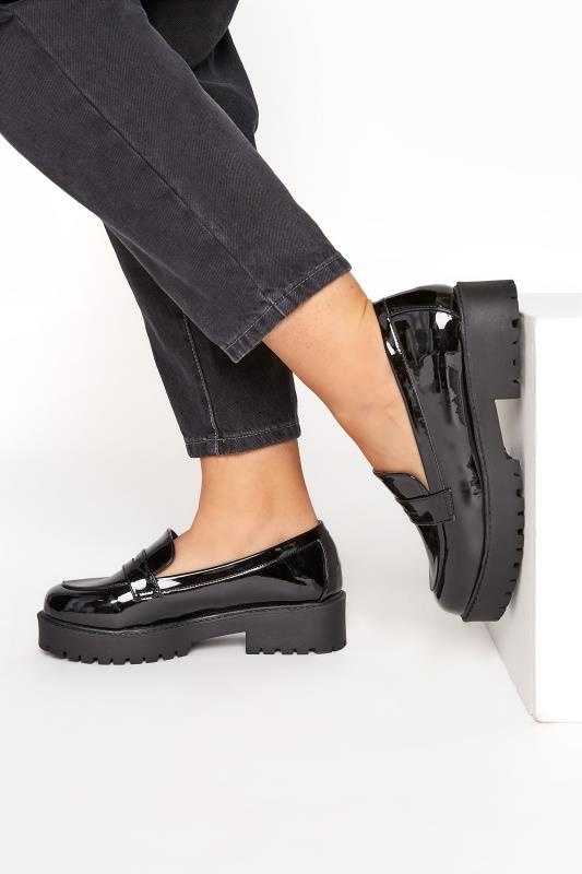 Plus Size  Black Patent Chunky Loafers In Extra Wide Fit