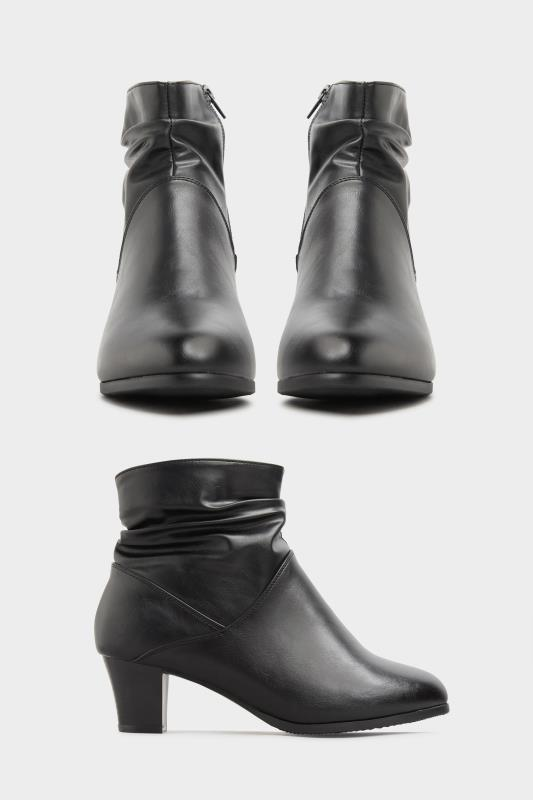 Black Vegan Faux Leather Ruched Heeled Ankle Boots In Extra Wide Fit_split.jpg