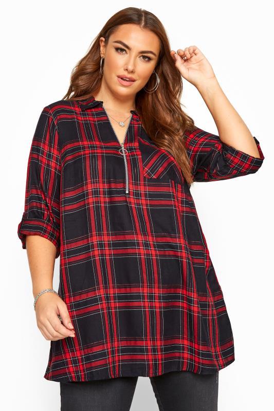 Plus Size Shirts Red Metallic Zip Neck Check Shirt