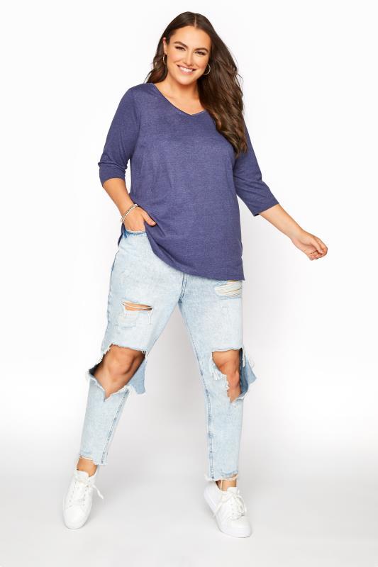 Denim Blue Marl V-Neck T-shirt_B.jpg