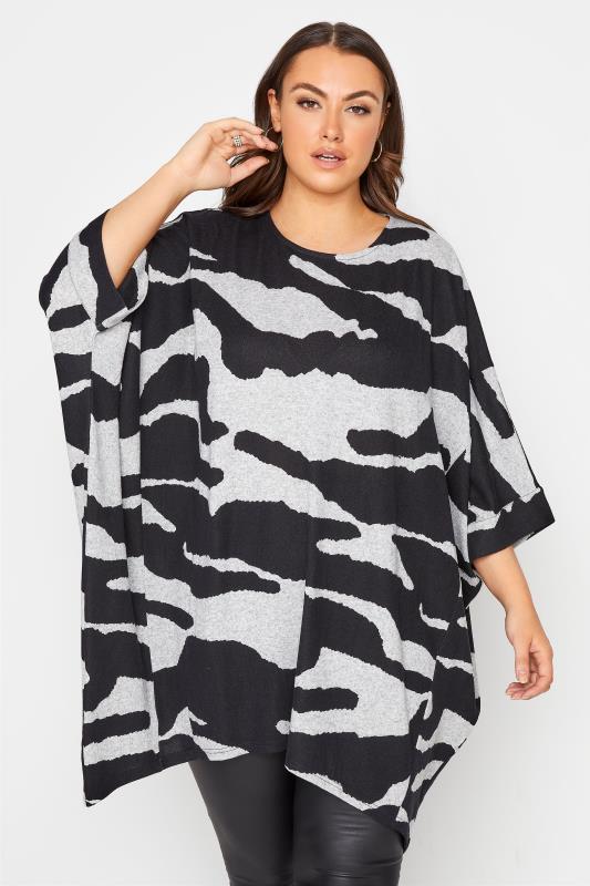 Grande Taille Grey Animal Hanky Hem Knitted Top