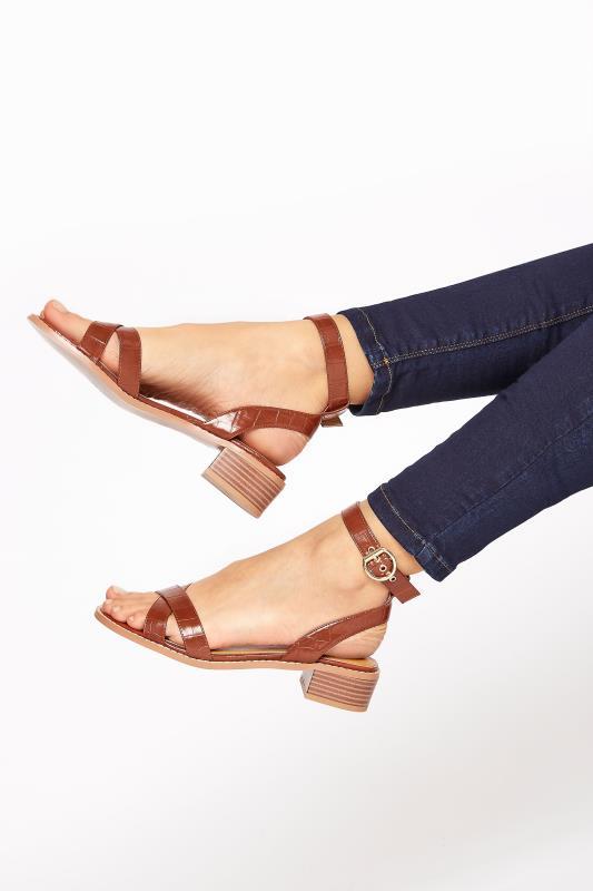 Tall  LTS Tan Low Block Sandal
