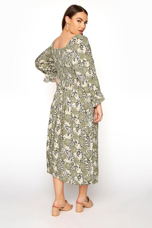 YOURS LONDON Green Shirred Front Floral Midaxi Dress_C.jpg