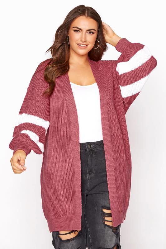 Tallas Grandes Pink Varsity Stripes Knitted Cardigan