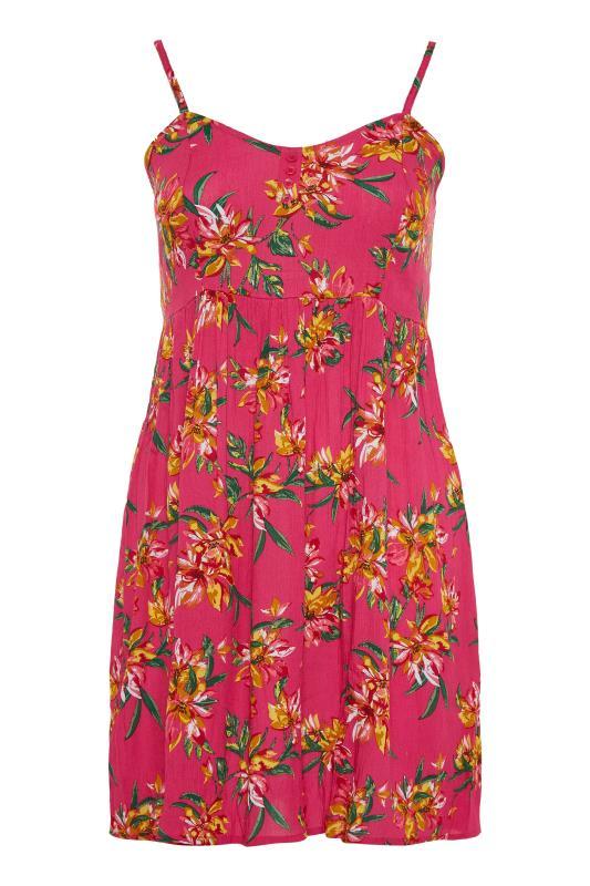 Pink Floral Strappy Crinkle Dress_F.jpg