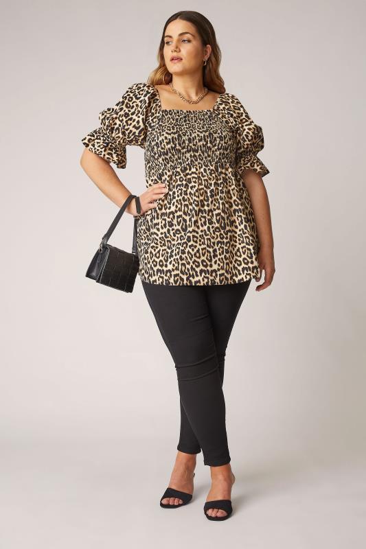 THE LIMITED EDIT Beige Leopard Print Shirred Peplum Top_B.jpg