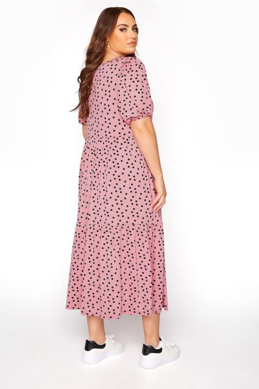 Pink Spot Print Puff Sleeve Midaxi Dress_C.jpg
