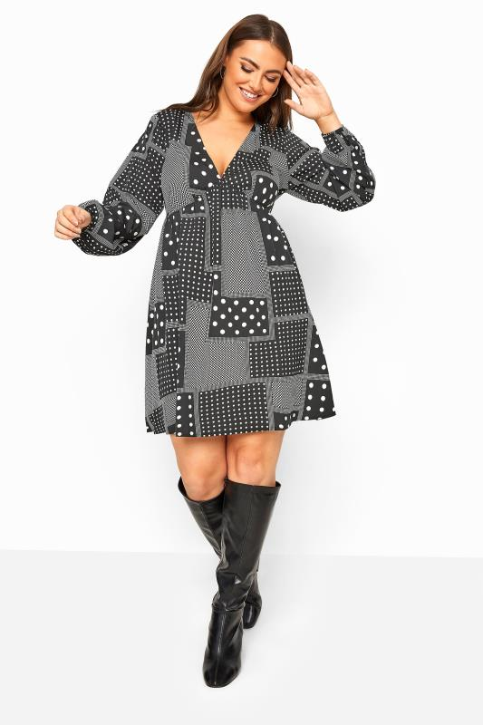 Tallas Grandes LIMITED COLLECTION Black Mixed Spot Smock Dress