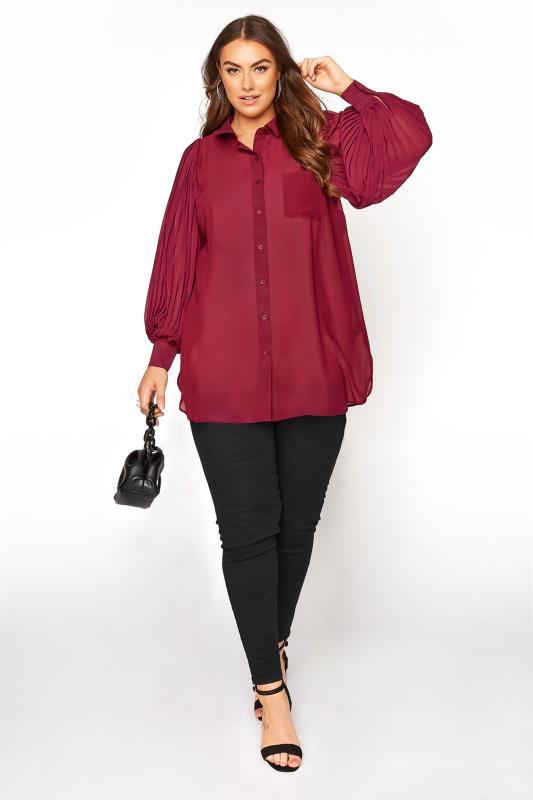 YOURS LONDON Burgundy Pleat Sleeve Shirt_RB.jpg