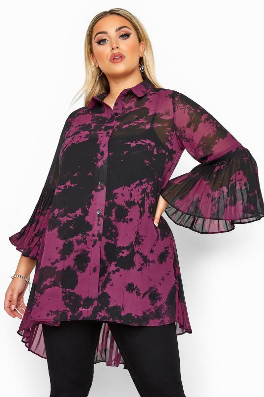 Plus Size Shirts Black & Purple Tie Dye Pleated Longline Shirt