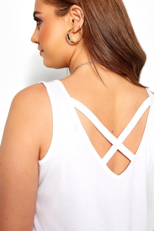 White Slogan Cross Back Vest Top