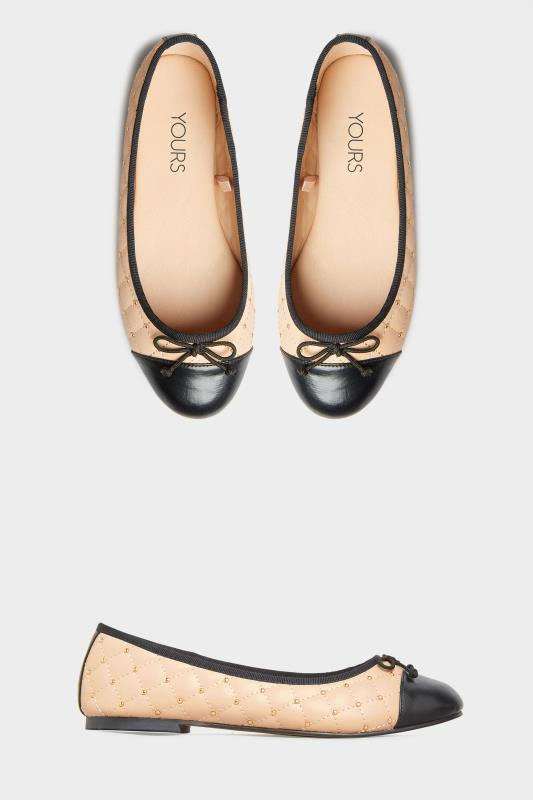 Yours Nude Quilted Studded Ballet Pumps In Extra Wide Fit