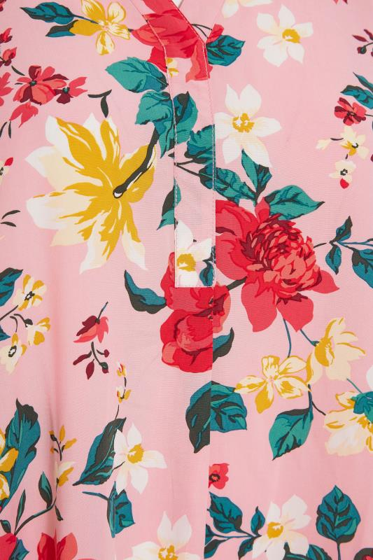 Pink Floral Notch Neck Throw On Dress_s.jpg