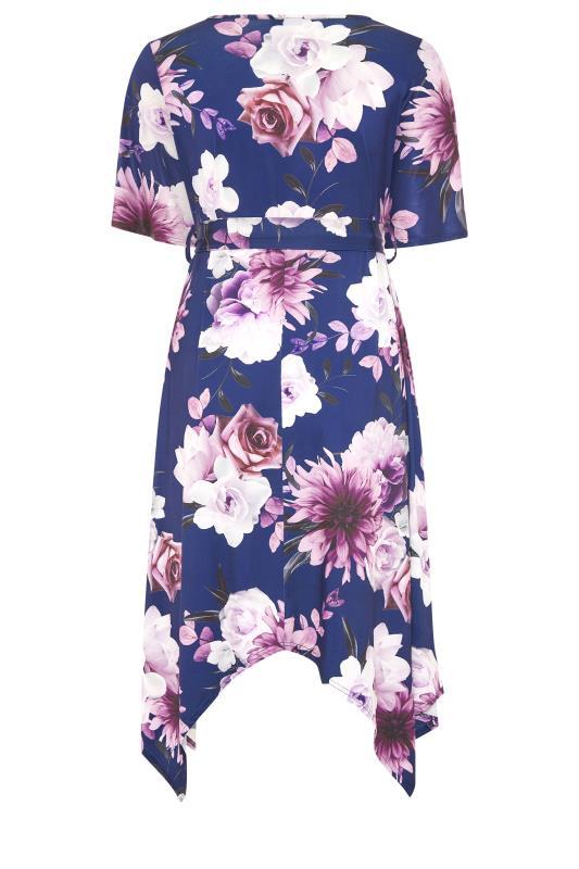 YOURS LONDON Navy Floral Wrap Hanky Hem Dress_BK.jpg
