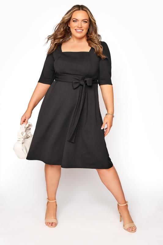 Plus Size  YOURS LONDON Black Square Neck Dress