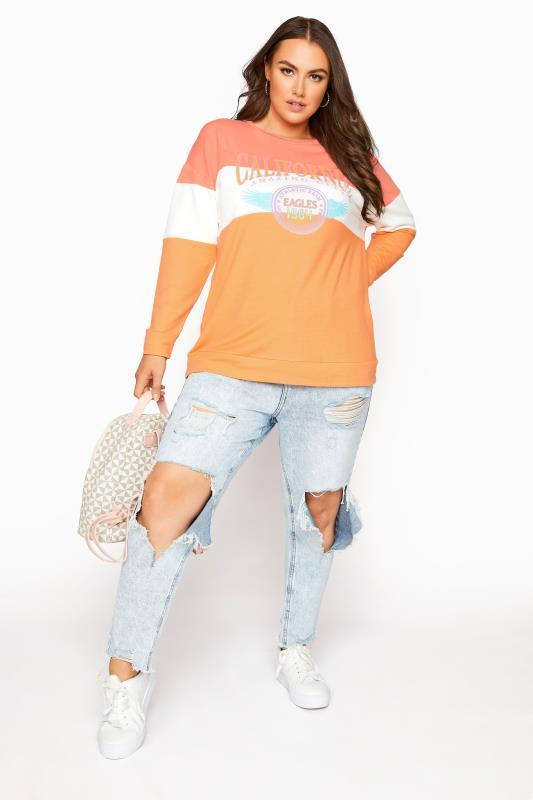 Orange Colour Block 'California' Slogan Sweatshirt_B.jpg
