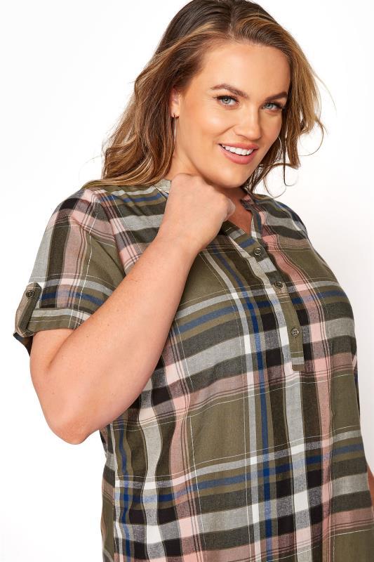 Khaki Grown On Sleeve Check Shirt_D.jpg