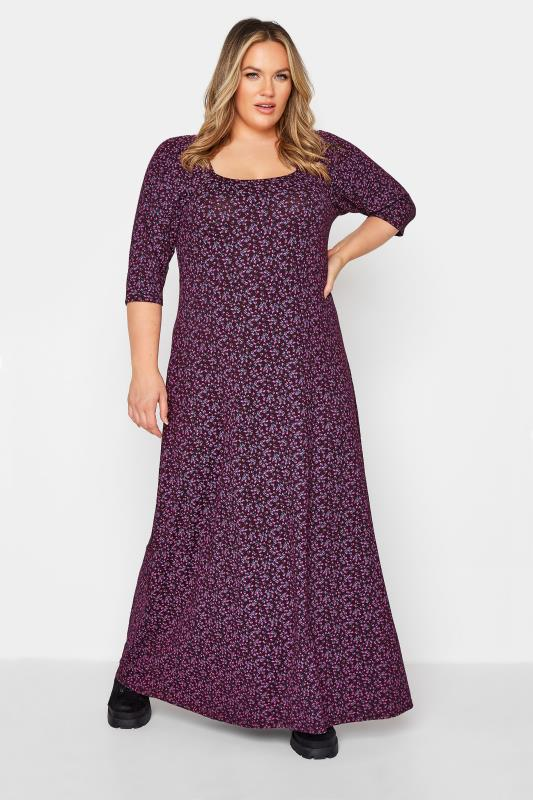 Plus Size  LIMITED COLLECTION Purple Ditsy Maxi Dress
