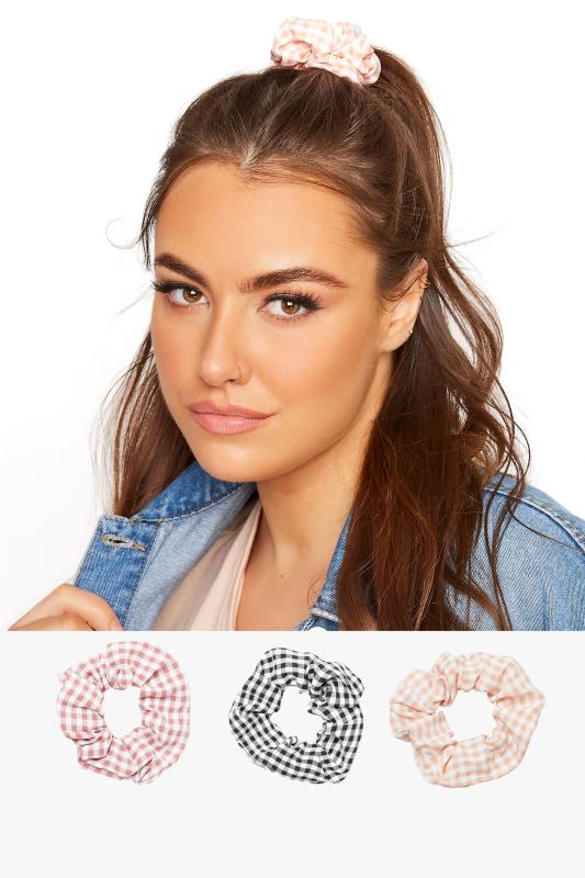 Plus Size  3 Pack Pink and Black Gingham Scrunchie Set