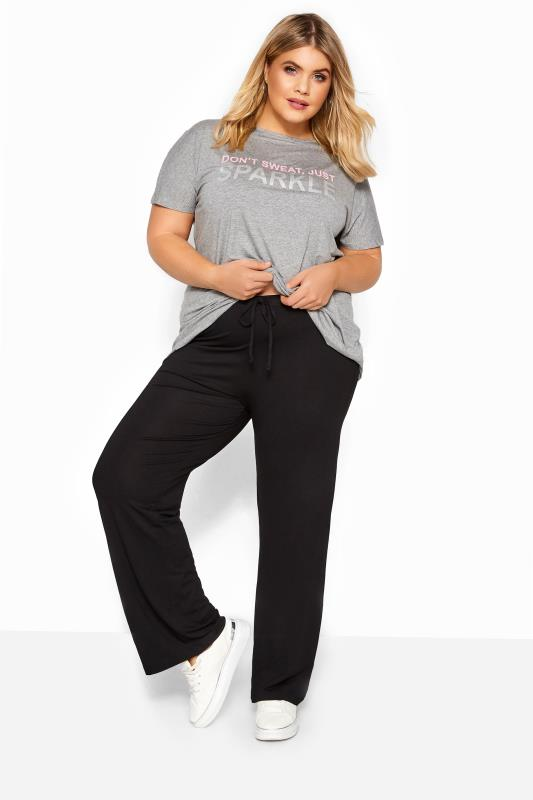 Großen Größen Wide Leg & Palazzo Trousers BESTSELLER Black Wide Leg Pull On Stretch Jersey Yoga Pants