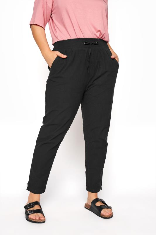 Plus Size  Black Cool Cotton Jogger