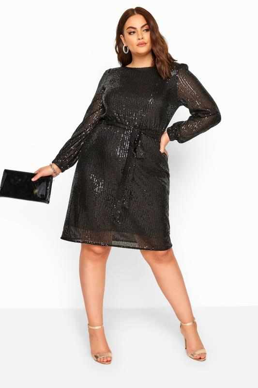 YOURS LONDON Black Sequin Balloon Sleeve Dress