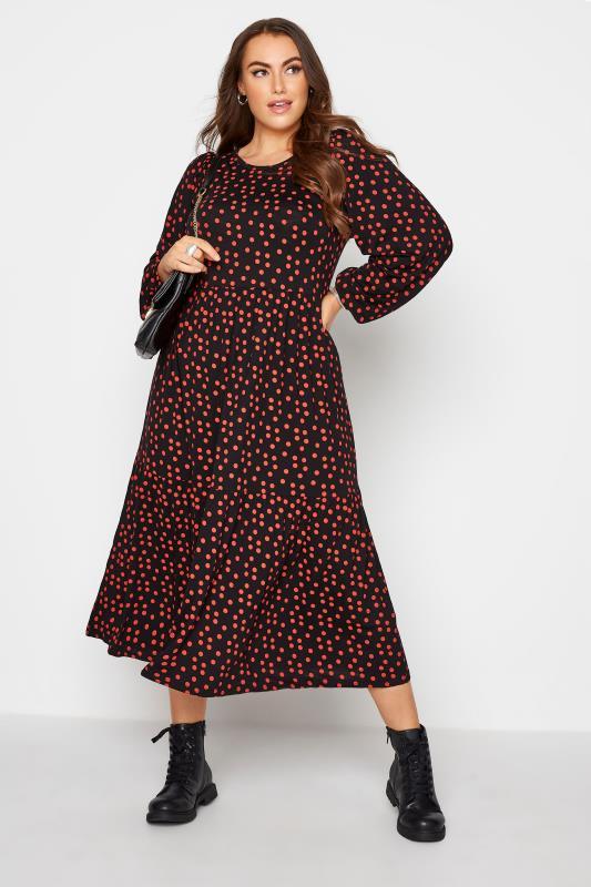 Black Polka Dot Peplum Midaxi Dress_B.jpg
