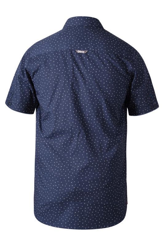 D555 Dark Blue Micro Print Shirt