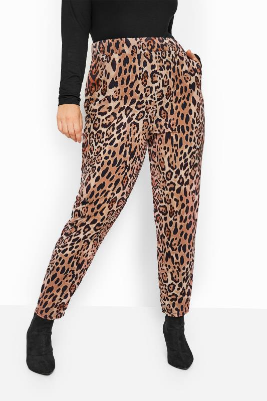 Tapered & Slim Fit Trousers Grande Taille Rust Animal Print Bubble Crepe Trousers