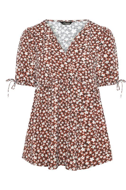 LIMITED COLLECTION Rust Floral Wrap Front Top_F.jpg