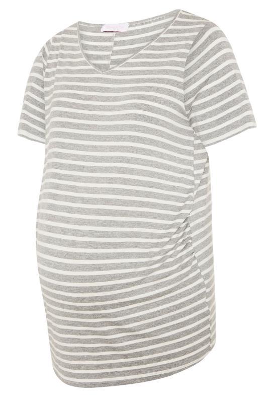 BUMP IT UP MATERNITY Grey Stripe Longline T-Shirt_F.jpg