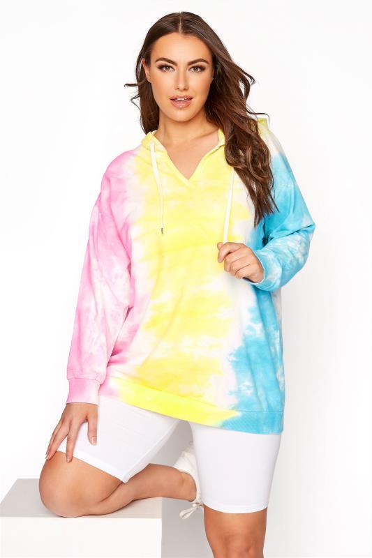 Plus Size  Multicoloured Tie Dye Notch Neck Hoodie