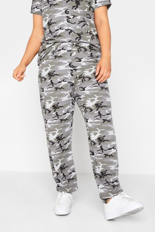 dla puszystych LIMITED COLLECTION Grey Camo Lounge Joggers