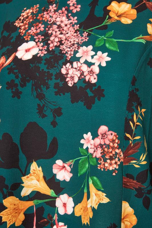 YOURS LONDON Emerald Green Floral Balloon Sleeve Blouse_S.jpg