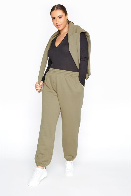 Plus Size  LIMITED COLLECTION Khaki Cotton Jersey Joggers