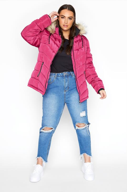 Pink Padded Puffer Coat With Faux Fur Trim