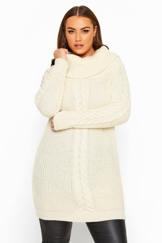 Plus Size Jumpers Cream Cable Knit Longline Jumper