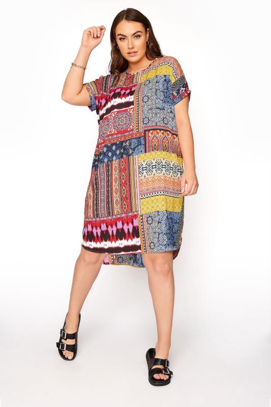 Multi Patchwork Tunic Dress