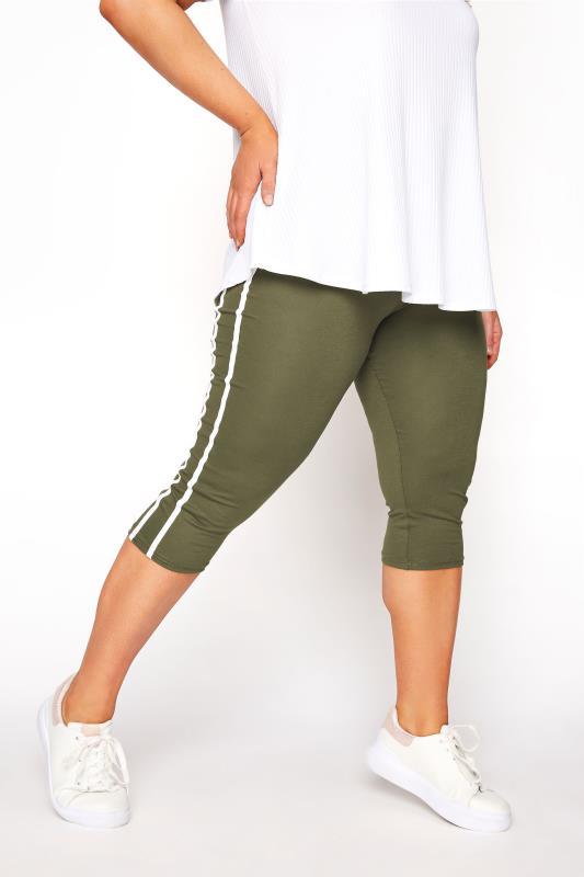 Khaki Side Stripe Cropped Leggings_A.jpg