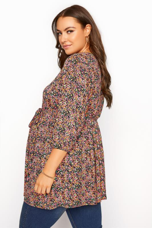 BUMP IT UP MATERNITY Multi Ditsy Print Belted Top_C.jpg