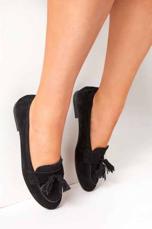 Tall  LTS Black Suede Tassel Loafers
