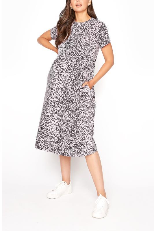 LTS Maternity Leopard Print Peplum Mini Dress
