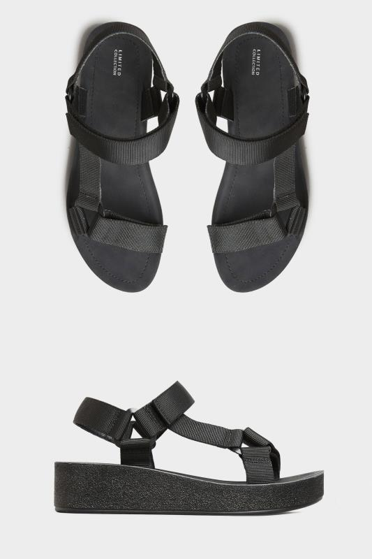 Yours LIMITED COLLECTION Black Sporty Mid Platform Sandals In Extra Wide Fit