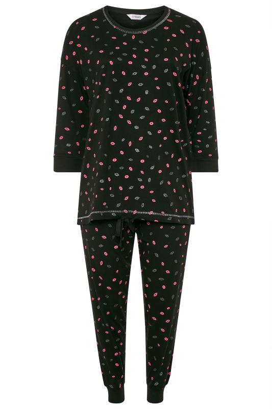 Pyjama-set met lippenprint en glitter in zwart