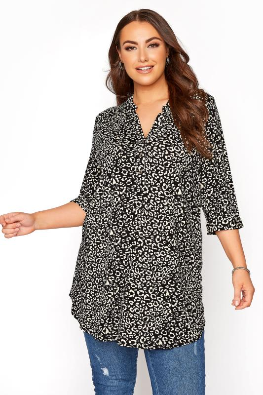 Plus Size  Black & White Animal Marking Grandad Collar Overhead Shirt